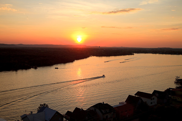 beautiful sunset over Lake LBJ from Lookout mountain in Kingsland